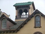 Close-up of the the 4-1/2 story Italianate tower added by the architect, Upjohn.
