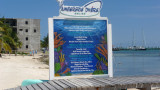 Sign along the beach for diving, one of Ambergris Caye's biggest tourist attractions.