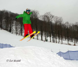 skier Chases boarders