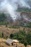 Everywhere in Mon District the hills are set on fire for new crops to be sown later.