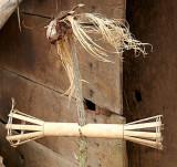 Symbolic baskets for offerings for the spirits and elephant head. Phnong village Dak Dam, Mondulkiri, Cambodia