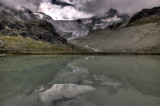 HDR of the glacier and lake.
