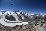 The Monte Rosa glacier from Gornergrat.  Matterhorn on the right.