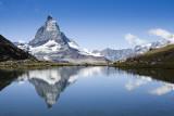 Riffelsee Lake reflecting the Matterhorn, at Rotenboden.