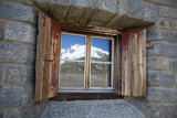 Window reflecting the Monte Rosa, Rotenboden.
