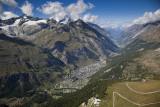 Town and valley of Zermatt.