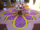 Floral arrangement in the reception area