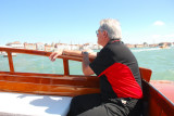 Dave in the water taxi enjoying his first real look at Venice