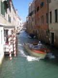 Speedboat whizzing around the canals