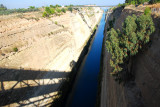 Corinth Canal taken from an overhead bridge