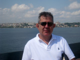 Mark back on the Victoria with the Blue Mosque and St Sofias in the background