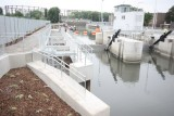 The adjustable wier adjacent to the lock