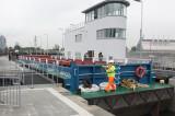 Barge entering lock ...