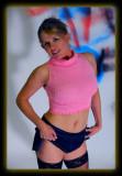 Tab in Pink Top & Denim Mini