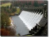 Lake Vyrnwy dam, in full flow