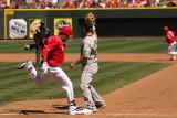 Cincinnati Reds center fielder Willie Taveras crosses 1st base