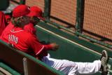 Reds pitcher Bronson Arroyo kicked back