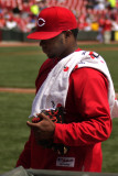 After warming up, starting pitcher Johnny Cueto