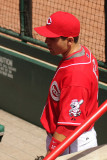 Joey Votto in the dugout