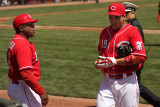 Reds first baseman Joey Votto headed to the dugout