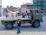 Duke of Lancaster's Regiment Lamb Banana brings up the rear of the parade.