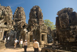 The Bayon is the centerpiece of Angkor Thom and is famous for its huge stone faces.