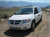 Jurek crew vehicle on the portal road about 7 miles from the finish