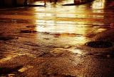 Reflections of rain at night