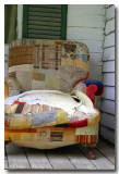 old quilted overstuffed chair