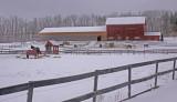 horse farm in snow