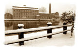 sepia mill in the snow...
