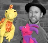 actor with puppets...