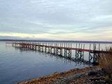 pier reflection on cayuga lake...