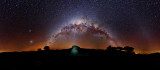 Milky Way 12 image mosaic with rock formation lit up