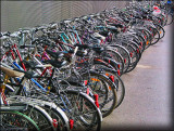 Crowded abstraction of bicycles