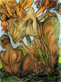 temptation of Adam, 1920, pastel on paper