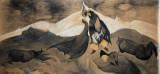 Kiss of mongolian prince on glacial desert, 1915 - 1918, gouache on paper