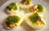 Eggs with salmon and wasabi caviar