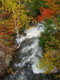 le ruisseau se faufilant entre l'automne