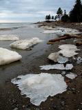 plaques de glace et sapins