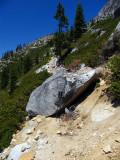 Big Rock blocking the trail