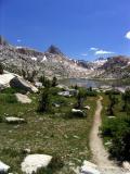 John Muir Trail in Evolution Basin, view south