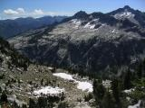 Easy walking on the distant slabs, Sawtooth Peak