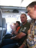 Elise, Arnold and Jos in the plane from Dusseldorf to Praque