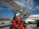 Arnold posing before our plane to Bratislava