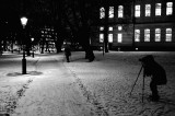 Shooting lampposts. The Royal Library to the right.