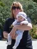Enjoying the sunshine with Auntie Carolyn