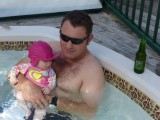 My first dip in the spa with Daddy