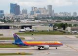 6Y-JAF Air Jamaica Airbus A-320 and Ft Lauderdale skyline