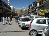 View of main Leh bazaar looking north toward the mosque.